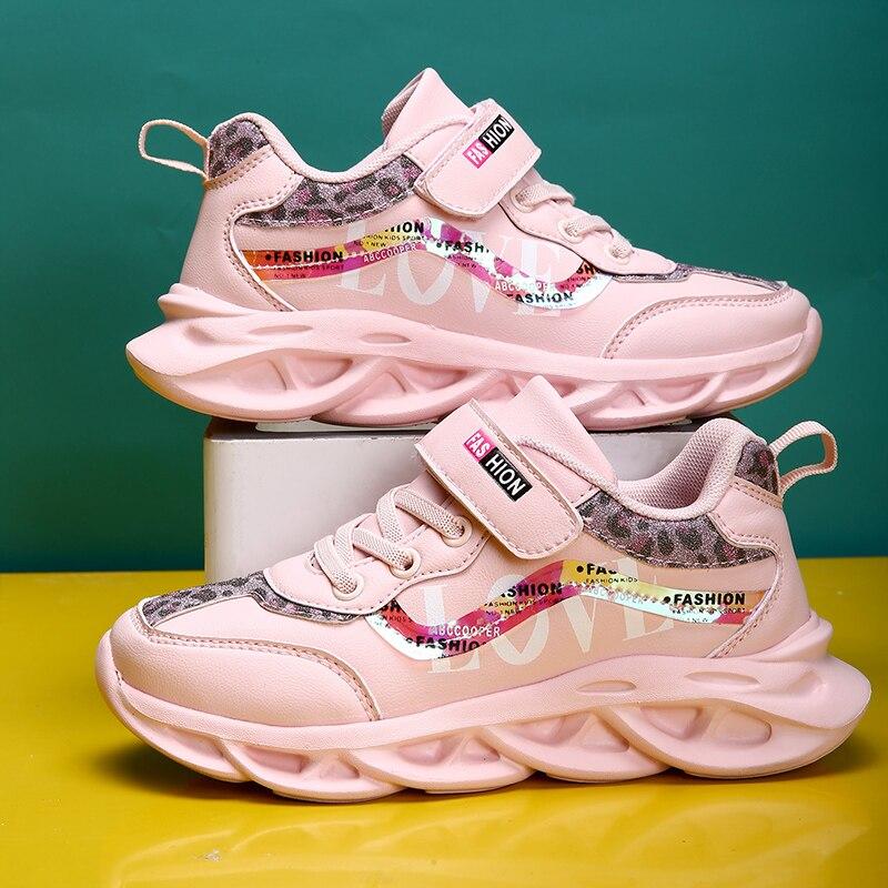 Primavera nuevos zapatos de cuero Pu para niños, zapatillas deportivas para niñas, zapatos para niños, zapatos casuales de moda para niños, entrenador de marca suave