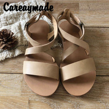 Careaymade-Summer new pure handmade Genuine leather leisure sandals,mori girl style retro hollow sandals with buckles