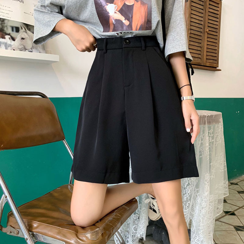 Korean Style Shorts Black Red Button Oversize High Waisted Loose Fit Loose Shorts 2020 New Casual Streetwear Free Shipping