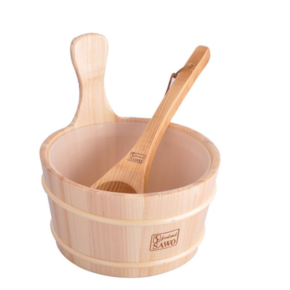 Bathroom Natural Sauna Bucket Wooden Spoon With Lined Portable Wooden Skin Weight Loss Sauna Tool Supplies