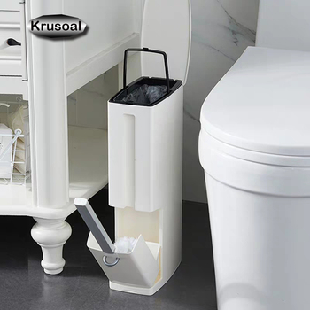 6L Narrow Plastic Trash Can Set Toilet Brush Bathroom Waste Bin Dustbin Cans Garbage Bucket Bag Dispenser