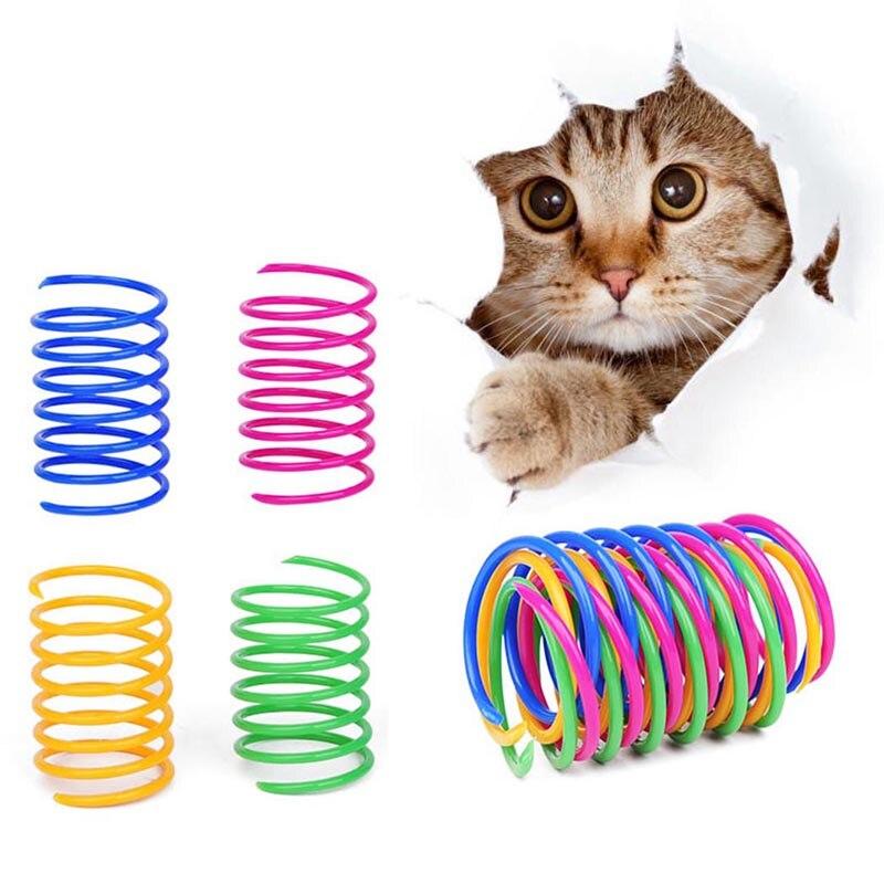 8 шт. кошка красочные пружинная игрушка творческий Пластик Гибкая Cat катушки игрушечная кошачья интерактивная игрушка Кот забавные игрушки ...