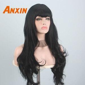 Image 2 - Anxin Lange Schwarz Perücken für Schwarze Frauen Welle Haare mit Pony Synthetische Natürliche Farbe Schwarz Blonde Gelb Cosplay Partei Perücke