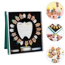 1 conjunto infantil caixa de armazenamento de dentes de madeira decídua caixa de lembrança de dentes