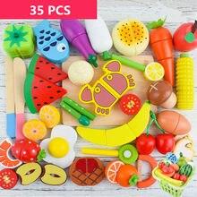Brinquedos de cozinha de madeira, corte de legumes, frutas e legumes com ímã, brinquedos, pequeno-almoço, brinquedos educativos para crianças, presentes
