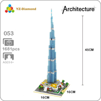 YZ 053 World Famous Architecture Burj Khalifa Tower 3D Model Mini Diamond Building Small Blocks Bricks Toy for Children no Box