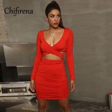 Женское облегающее мини платье chifirena с v образным вырезом