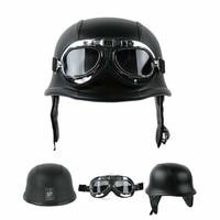 Motorcycle Helmet German Leather Style Half Face Helmet Cruise Chopper Biker Pilot Goggles M L XL motocross casco capacete DOT 1