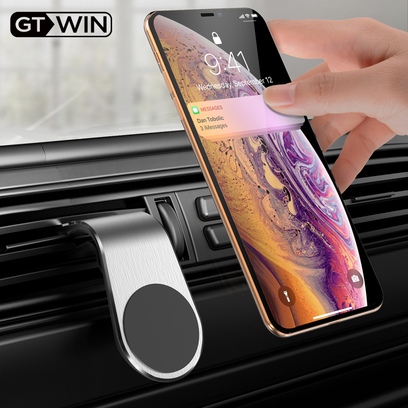 GTWIN Metal Magnetic Car Phone Holder Mini Air Vent Clip Mount Magnet Mobile Stand For IPhone XS Max Xiaomi Smartphones In Car