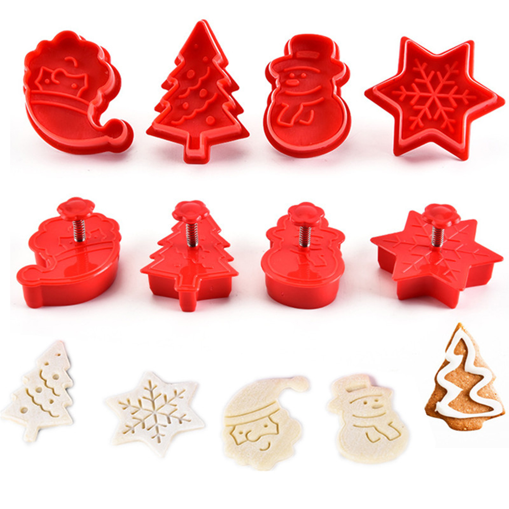 New 4pcs Cookie Stamp Biscuit DIY Mold Christmas 3D Cookie Cake Plunger Cutter Baking Mould Xmas Cookie Cutters Color Random