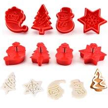 Новые 4 шт печенья штамп печенье DIY Плесень Рождество 3D печенье торт плунжера форма для выпечки Рождество формочки для печенья цвет случайный