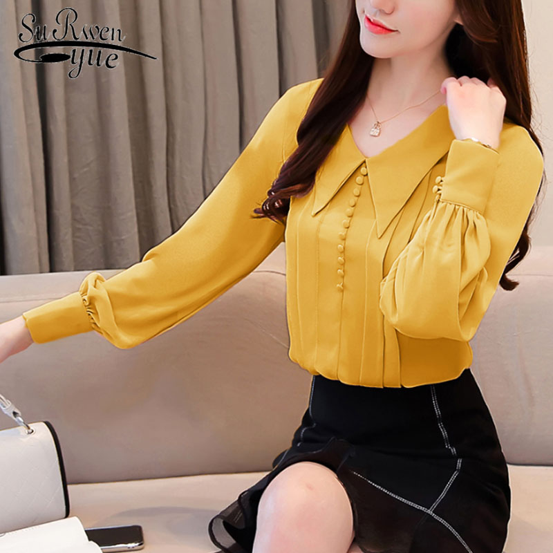Casual Button Sweet Women Blouses Office Lady Long Sleeve V-neck Women Tops 2019 Autumn Fashion Women Chiffon Blouses 6283 50