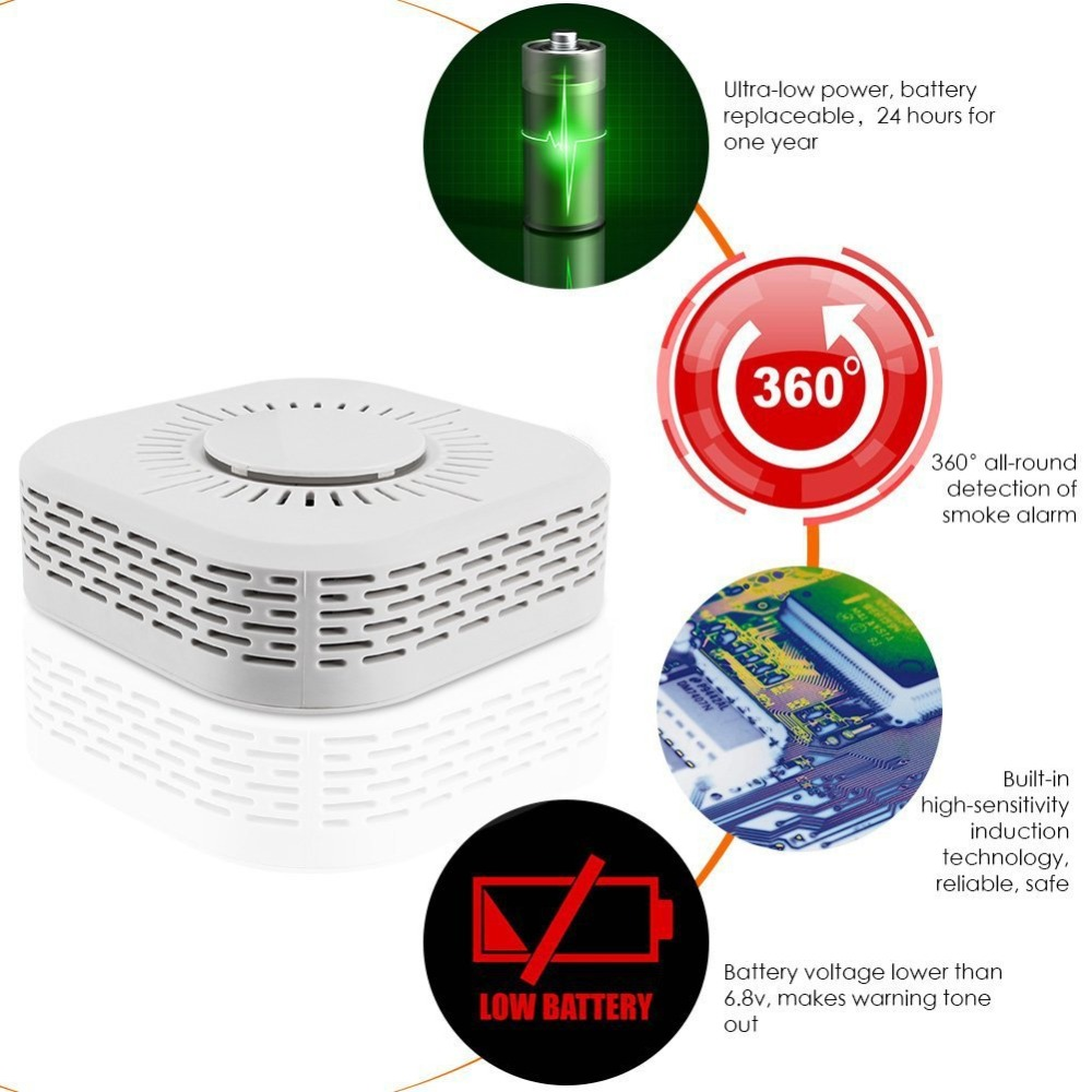 433MHz Wireless Smoke Detector Fire Protection Portable Smoke Detectors Home Safe Security Smoke Alarm Sensor Host Systerm Parts