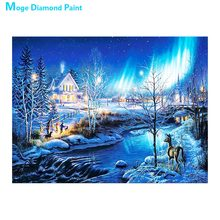 Snow Landscape in Winter Diamond Painting Cross Stitch Full Round New DIY 5D Home Decorative Aurora Borealis Mosaic Embroidery