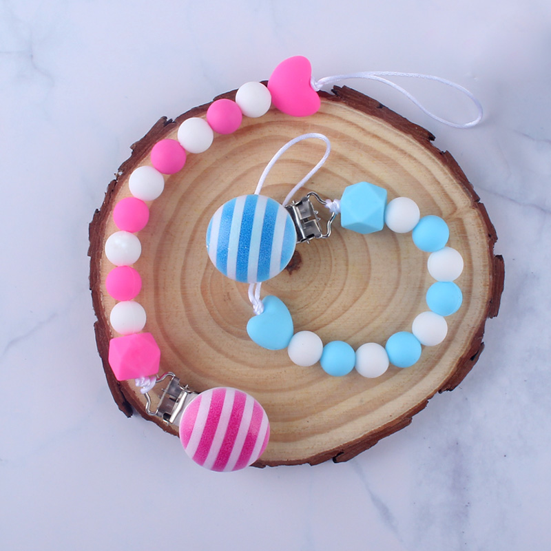 Simple Wooden Pacifier Clips Chain Baby Boy Girl Binky Clip Holder For Nipples Nursery Toy Shower Gifts