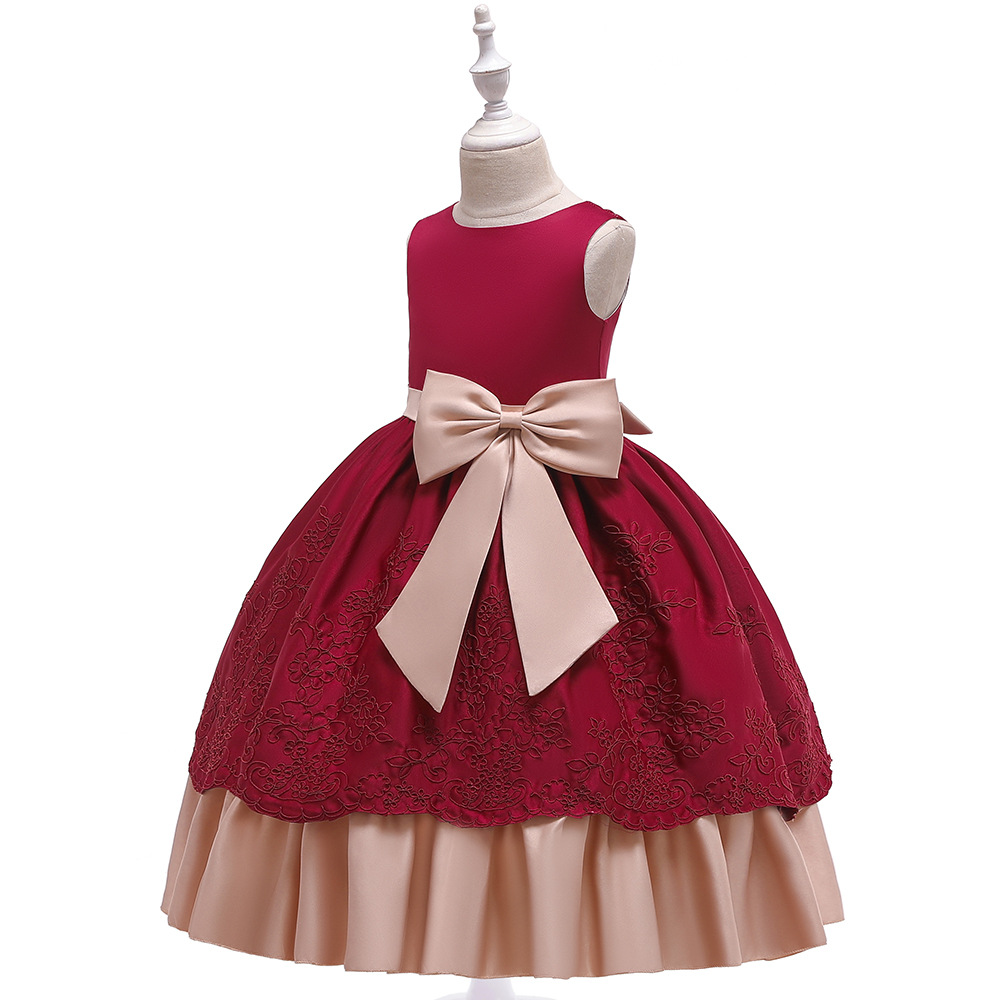 2019 Long GIRL'S Gown Satin Embroidery Princess Skirt Bow Performance Tutu Floor-Length Wedding Dress