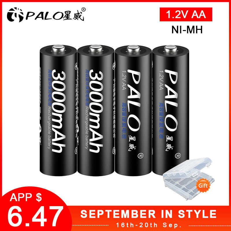 4 шт. AA заряжаемые аккумуляторы 1,2 в AA 3000 мАч Ni-MH предварительно Заряженная аккумуляторная батарея 2A Baterias для фонарика камеры
