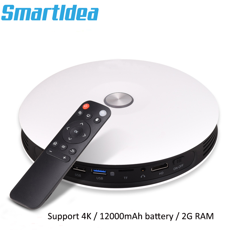 Smartldea <font><b>M18</b></font> Handheld Mini DLP Personal 3D Projector with 12000mAh battery BT4.0 LED 4K Proyector support AirPlay Miracast AC3 image
