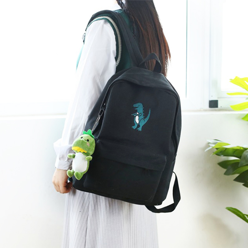 Image 3 - Meloke 2019 hot women embroidery dinosaur backpack bags lovely tassel school bags travel bags for girls drop shipping M453-in Backpacks from Luggage & Bags