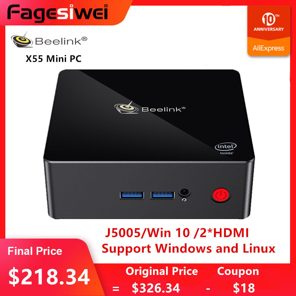 Beelink Gemini X55 Mini PC J5005 Win10 8GB LPDDR4 256/512GB 2.4GHz+5.8GHz WIFI 2*HDMI BT4.0 Mini PC Support Windows And Linux