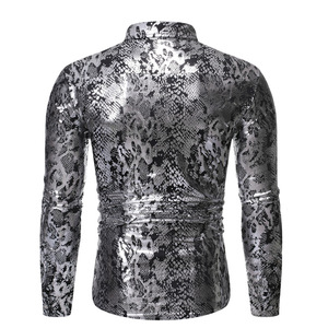 Image 2 - Sexy Snake Pattern Metallic Shirt Men 2019 Fashion New Slim Fit Long Sleeve Social Shirt Male Party Nightclub Prom Chemise Homme