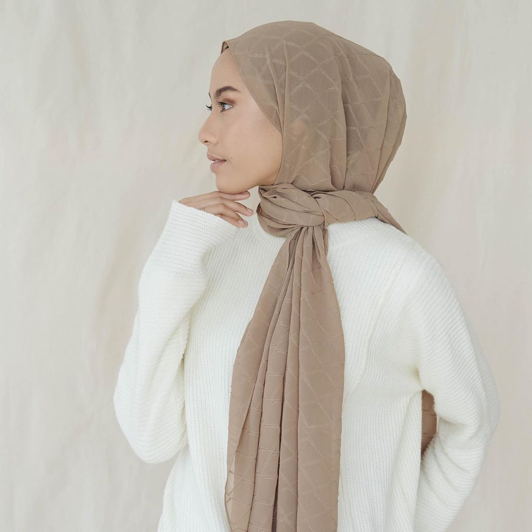 Trendy Heavy Bubble Chiffon Pleated Plaid Long Plain Hijab Wrap Muslim Hijabs Scarf Turbanet Headscarf|Women