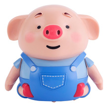 Mini Pig Robot Inductive Line Drawing Toys with Light Music Education Toy Pen +USB Charging Cable Dropshipping