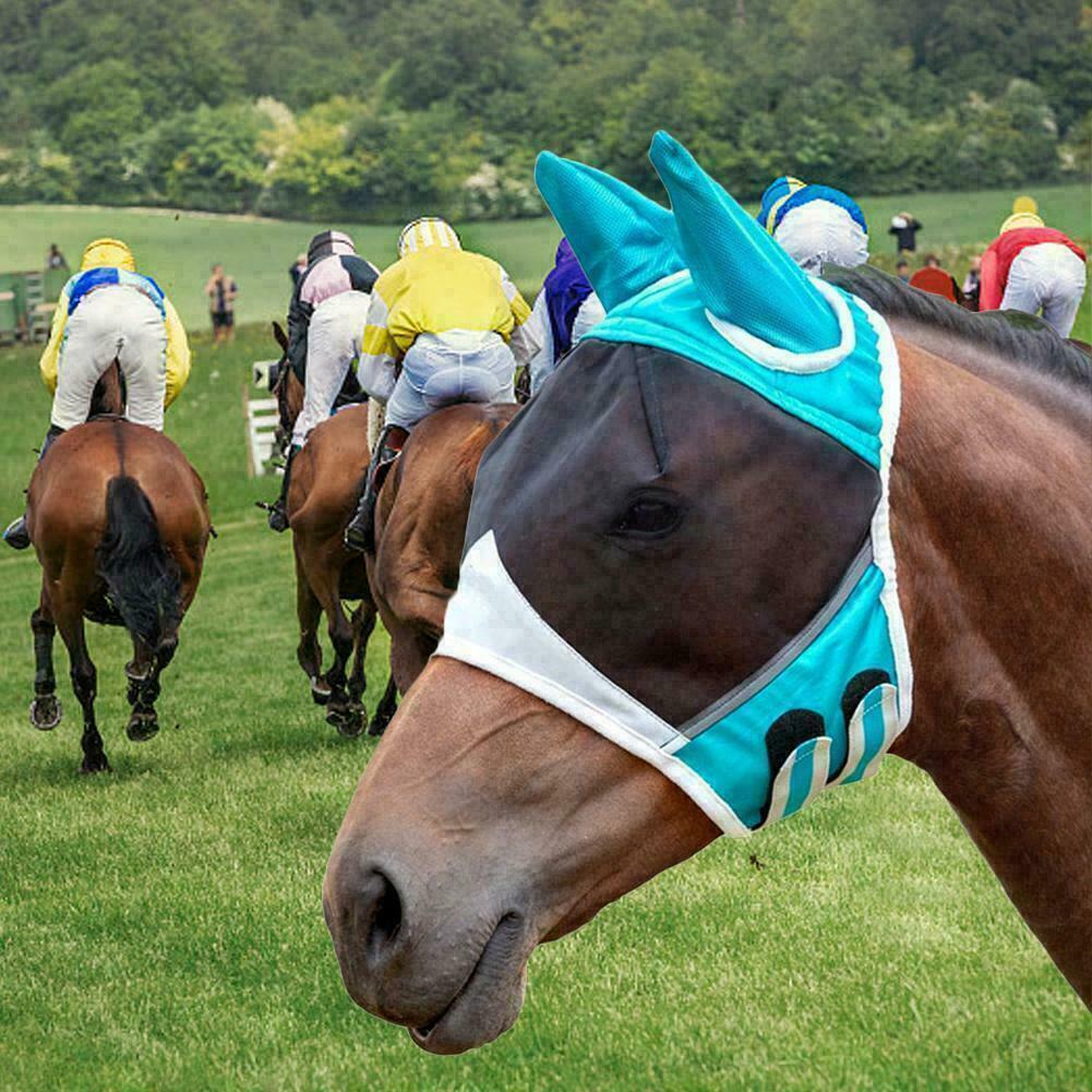 Horse/Cob/Pony Anti-Moquito Masks Mesh Veil Hood Eye Ear Mask Protective Cover