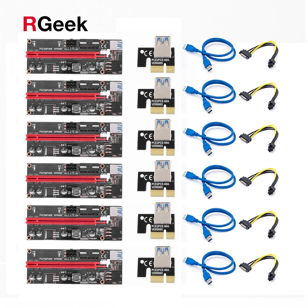 райзер для видеокарты pci e 16x для майнинга 6 pin 6 шт. новые VER009 USB 3,0 PCI-E VER 009S Экспресс 1X 4x 8x 16x удлинитель pcie Riser карта адаптера SATA 15pin до 6 pin Мощност...
