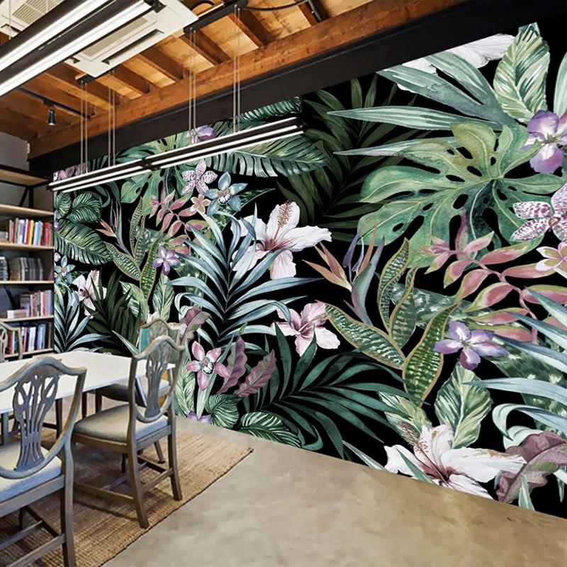 Custom Photo Hand Painted European Style Pastoral Art Wall Painting Tropical Rainforest Banana Leaves Restaurant Mural Wallpaper