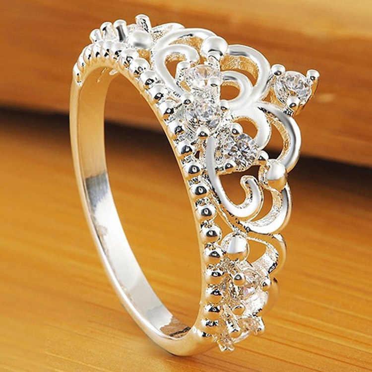 Srebrne kolorowe pierścienie Anillo USA styl europejski moda posrebrzana korona tylko pierścionek w kształcie korony hurtownia biżuterii Drop Shipping