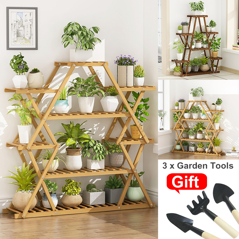 6 Tier Wooden Plant Stand Flower Patio Garden Planter Pot Stand Shelf Multi Tier Bonsai Display Outdoor Indoor with 3Pcs Tools