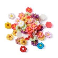 50 шт смешанные бусины из смолы в форме цветка с плоской задней
