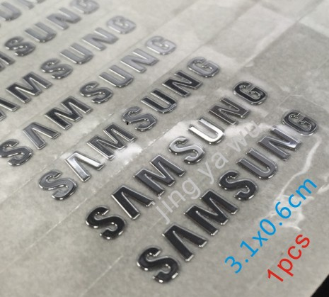 Free Shipping 3.1X0.6cm 1pcs / Lot Silver Samsung Logo Metal Paste Samsung Galaxy S3 S4 S5 Metal Stickers Samsung Logo
