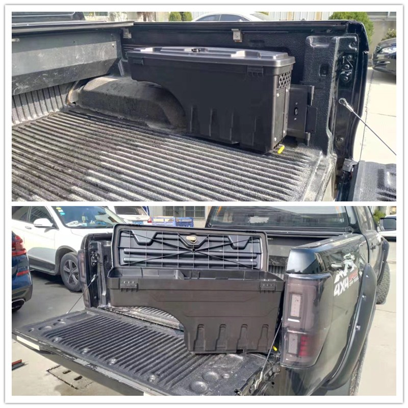 2 PCS PICKUP AUTO PARTS TOOL BOX REAR TRUCK TAILGATE STORAGE EXTERIOR BOXES FOR RANGER T6 T7 T8 XLT 2012-2020 EXTRA ACCESSORIES