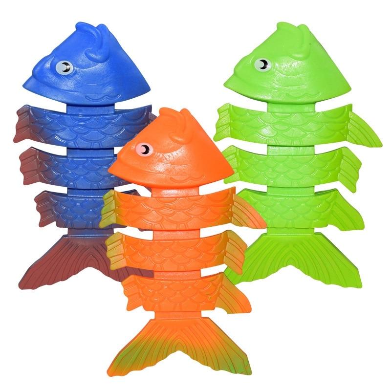 3pcs Summer Pool Toys Diving Green Plastic Fish Water Toys Children Diving Training Toys Children Swimming Toys Diving Fish Set