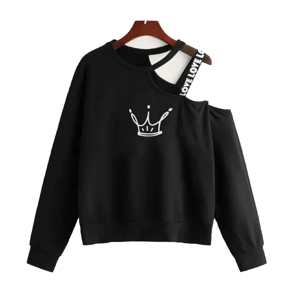Ladies Crop Fluffy Sweatshirt Women Off Shoulder Strap Crop Top Long Sleeves Skew Collar Cartoon Print Clothes Black White #L20
