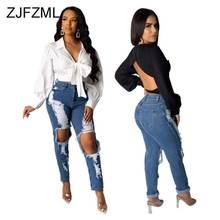 Женские рваные джинсы с дырками модные эластичные длинные брюки