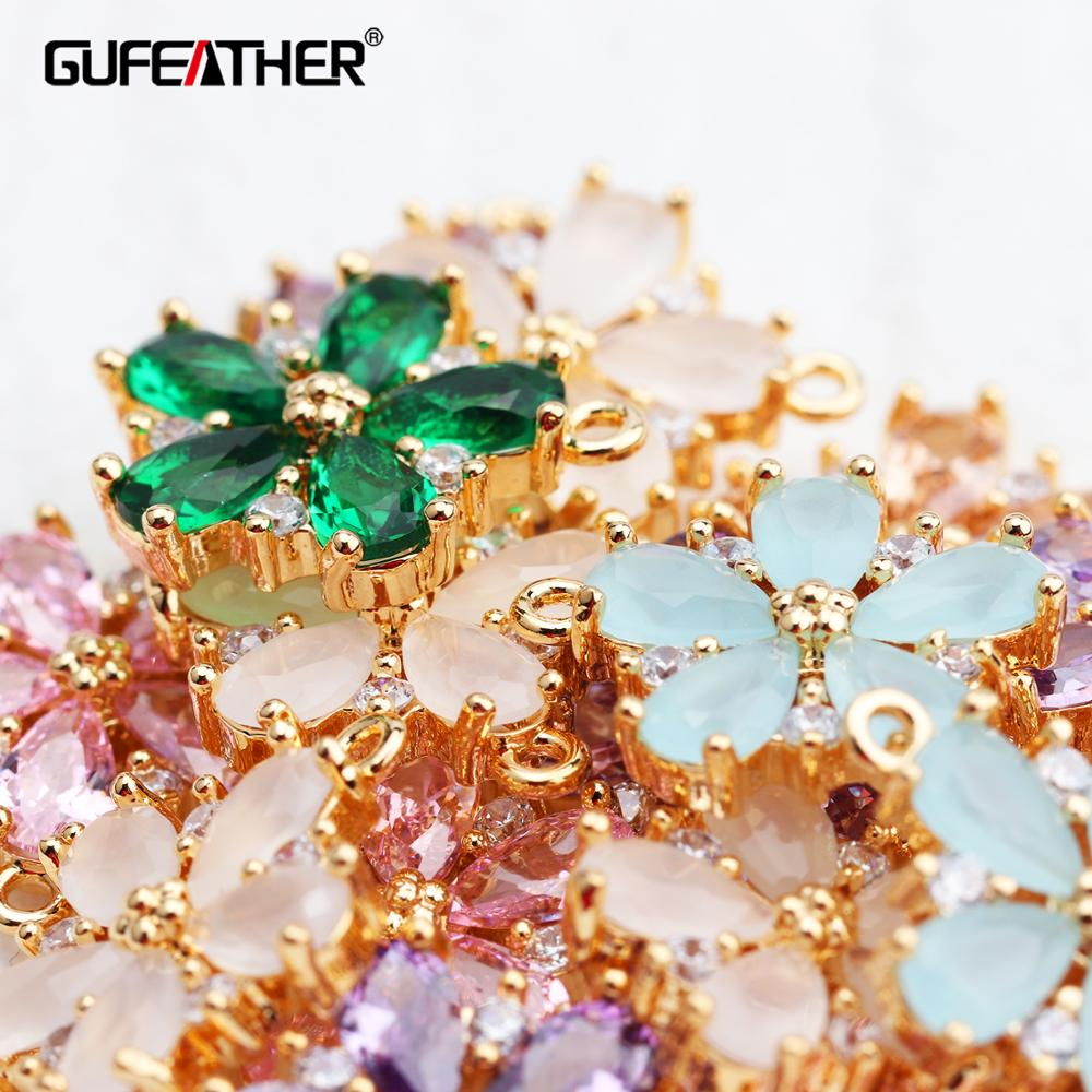 GUFEATHER M609,jewelry Accessories,18k Gold Plated,diy Zircon Pendant,jump Ring,hand Made,diy Earring,jewelry Making,10pcs/lot