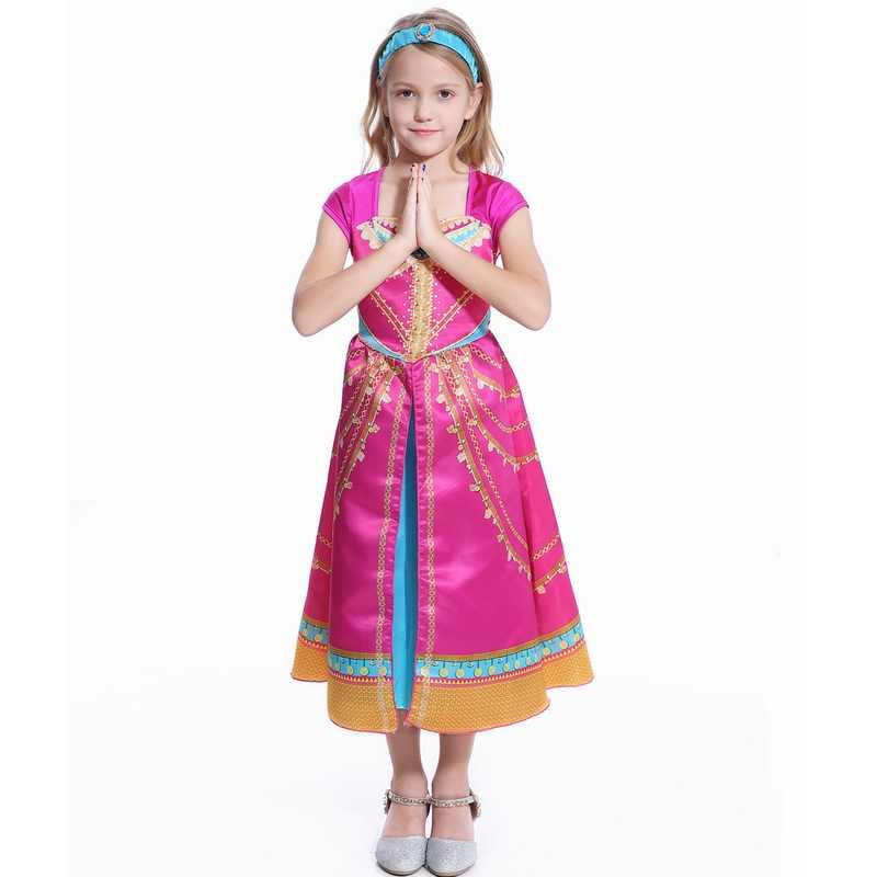 大人の女性の女の子王女ジャスミンの衣装とアクセサリー子供ドレスアップクラウンかつら魔法の杖グローブネックレスとイヤリング