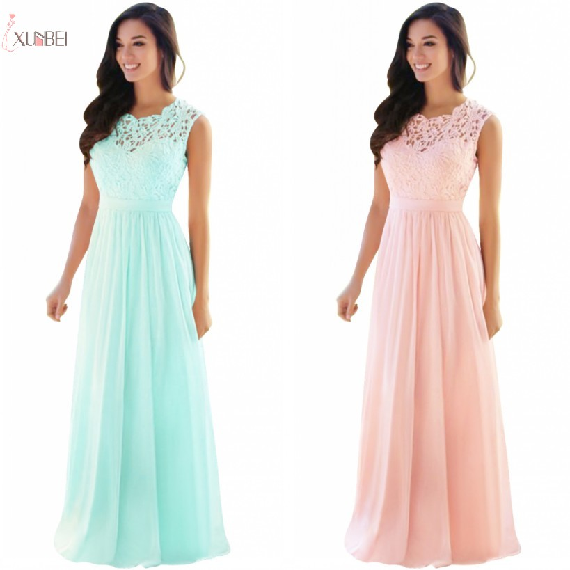 2019 Pink Mint Green Chiffon Long Bridesmaid Dresses Scoop Neck Wedding Party Gown Vestido Madrinha