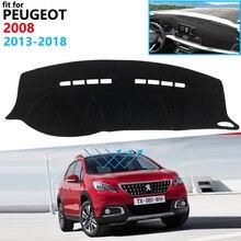 Capa protetora para painel de carro, proteção para peugeot 2008 2013 ~ 2018, acessórios para veículo, placa de sol, tapete anti-uv 2014 2015 2016 2017