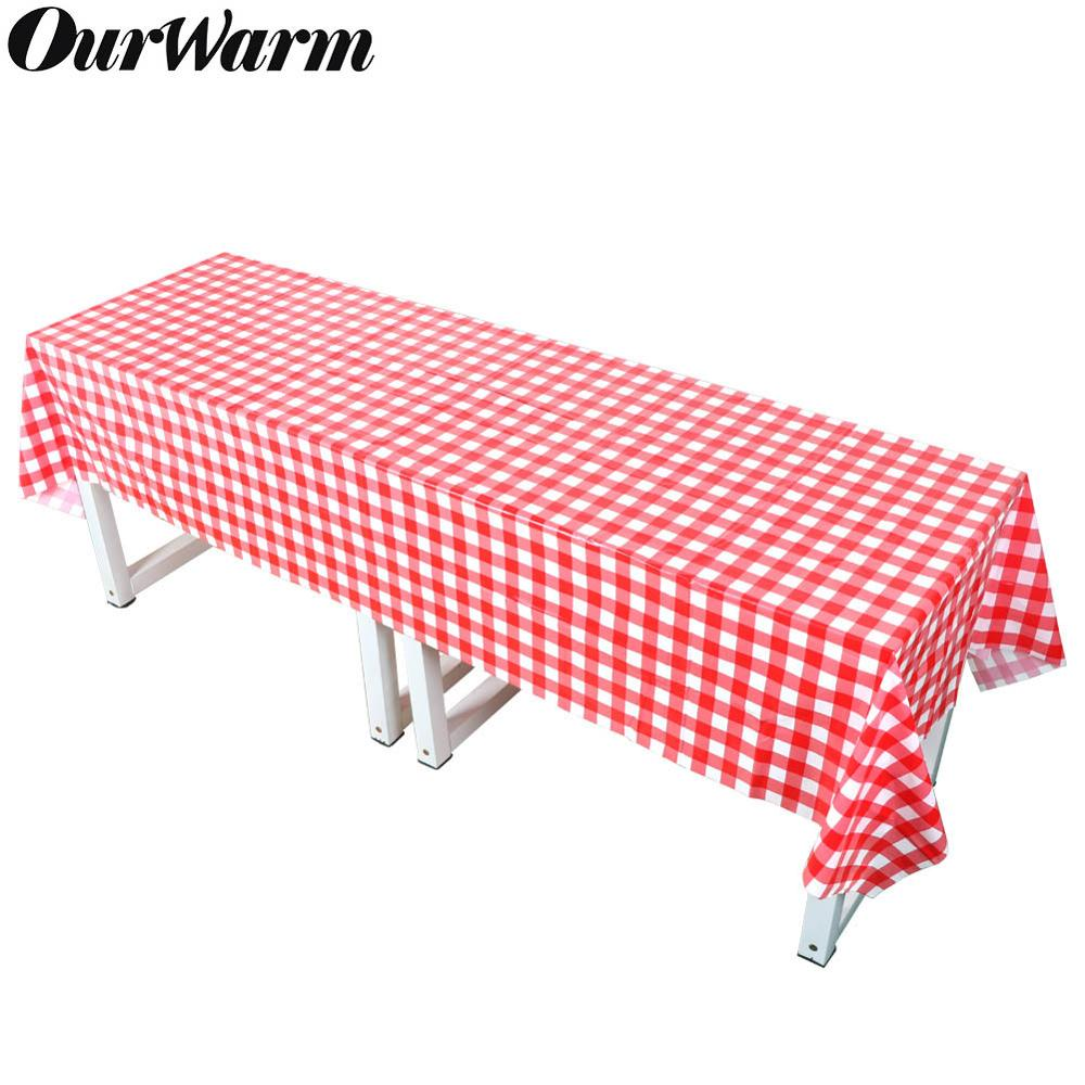 OurWarm Red And White Plaid Plastic Party Tablecloth 137x274cm Waterproof Disposable Table Cover Picnic BBQ Party Supplies