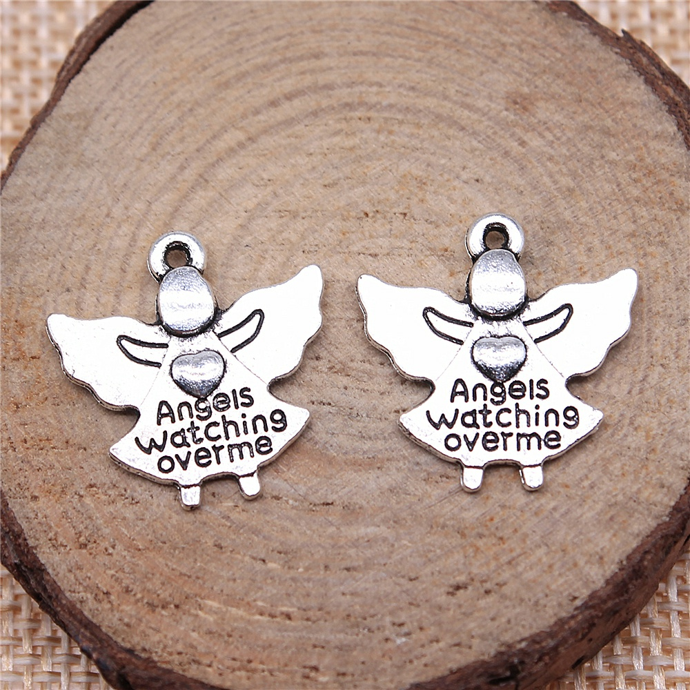 Wecharms 40pcs 20x19mm Charms Jewelry Findings DIY Accessories Angels Watching Over Me Pendant Antique Silver Color
