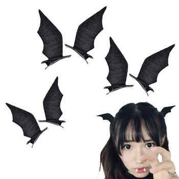 1Pair Cool Devil Wings Bat Hair Clips Wings Bat Hairpins Dress-up Costume Halloween Cosplay Party Hair Accessories 1