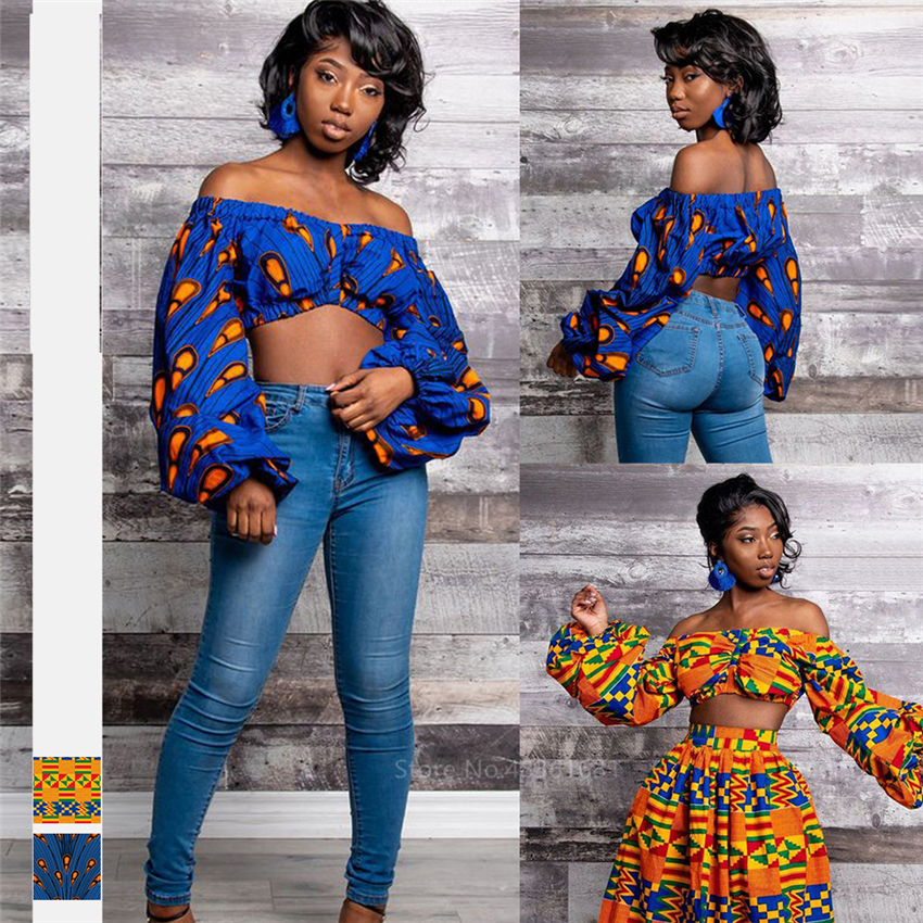 Fashion Ladies Clothes African Shoulder Off 2020 News Festher Dashiki Print African Dresses For Women Lantern Sleeve Short Top