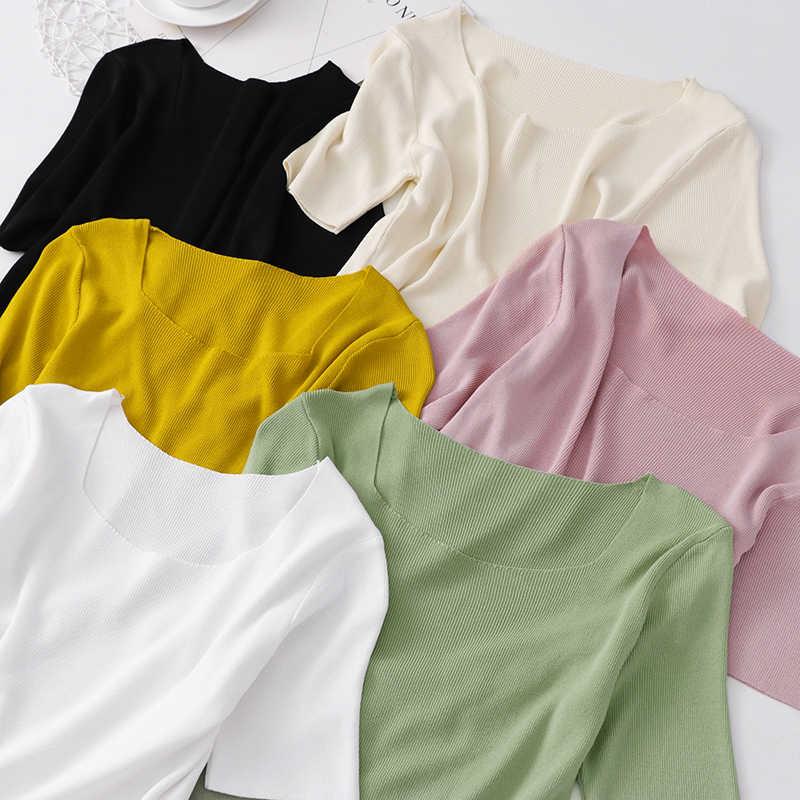 Koreaanse Casual Knit T-shirt Vrouwelijke Tops 2020 Zomer U Hals T-shirt Voor Vrouwen Zwart Wit Tees Korte Mouwen Vrouwen T Shirts Tops