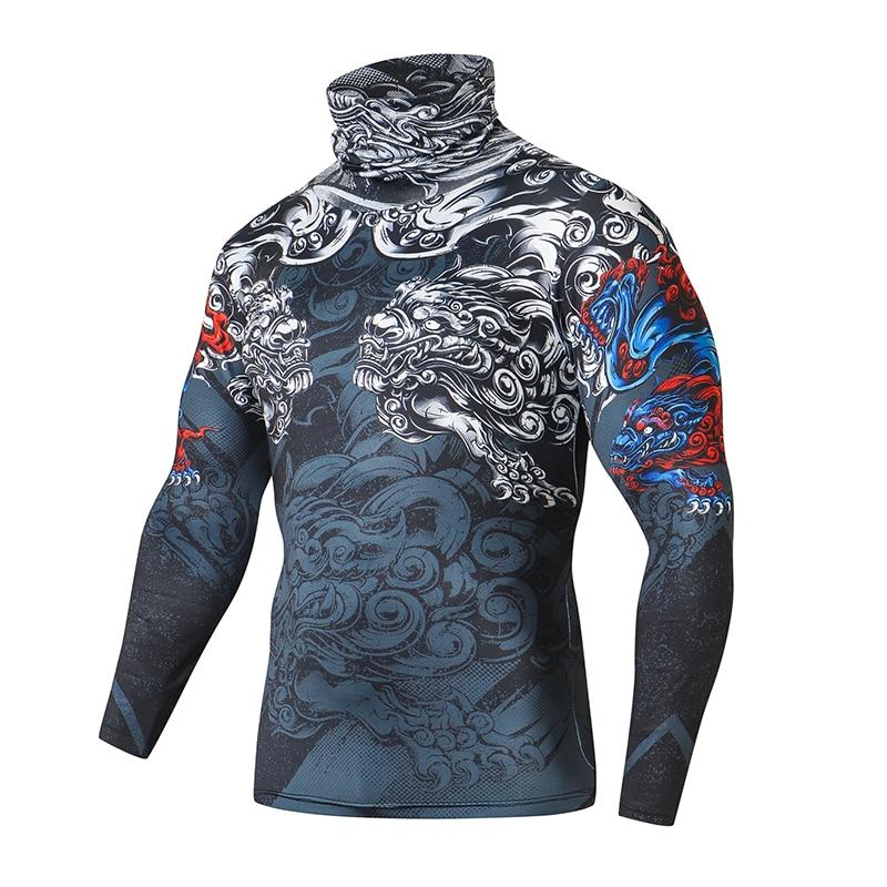 Running Long Sleeve Compression Mask Shirt Men Gyms T-shirt Fitness Tight Shirt Top Bodybuilding Cycling Sportswear Rashgard