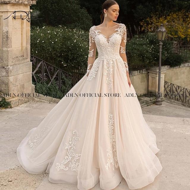 Gorgeous Lace Wedding Dress with Long Sleeves Sheer Neck Appliqued Champagne Bridal Gown Princess Vestido de Novia 1