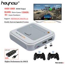 Heynow amlogic s905x wifi 4k hd super console x pro 50 + emulador 50000 + jogos retro mini tv caixa de vídeo player para ps1/n64/dc